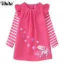 Dětské dívčí šaty, tunika s dlouhým rukávem s jednorožcem sytě růžová
