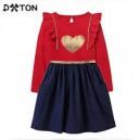 Dětské dívčí šaty, tunika s dlouhým rukávem červeno modrá se srdíčkem