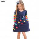 Dětské dívčí šaty, tunika s dlouhým rukávem modrá s 3d motýlkami