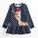 Dětské dívčí šaty, tunika s dlouhým rukávem se srnečkou