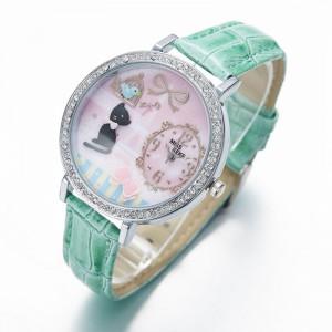 Dámské, dívčí kožené 3D hodinky -  kočička