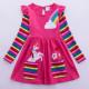 Dívčí šaty, tunika s dlouhým rukávem a jednorožcem - růžová
