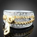 Luxusní prsten, bílé zlato, zip Swarovski krystal J2822