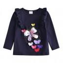 Dětské, dívčí tričko dlouhý rukáv modré s 3D motýlky