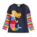 Dětské, dívčí tričko dlouhý rukáv modré s mořskou pannou