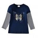 Dětské, dívčí tričko dlouhý rukáv modré měnící se obrázek - motýl