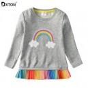 Dětské, dívčí tričko dlouhý rukáv růžové měnící se obrázek - duha