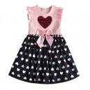 Dětské dívčí šaty, tunika krátký rukáv, růžová se srdíčky