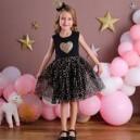 Dětské dívčí šaty, tunika krátký rukáv, černé se srdíčkem