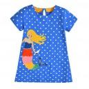 Dětské dívčí šaty, tunika krátký rukáv, modrá s vílou