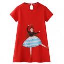 Dětské dívčí šaty, tunika krátký rukáv, červená s baletkou