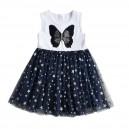 Dětské dívčí šaty, tunika krátký rukáv, tmavě modré s motýlkem