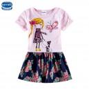 Dětské dívčí šaty, tunika krátký rukáv, růžová s holčičkou a pejskem