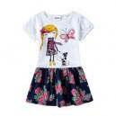 Dětské dívčí šaty, tunika krátký rukáv, bílá s holčičkou a pejskem
