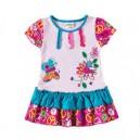 Dětské dívčí šaty, tunika krátký rukáv, barevné s výšivkou