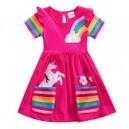 Dívčí šaty, tunika s krátkým rukávem a jednorožcem - růžová