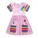 Dívčí šaty, tunika s krátkým rukávem a jednorožcem - jemně růžová