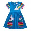 Dívčí šaty, tunika s krátkým rukávem a jednorožcem - modrá