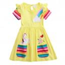 Dívčí šaty, tunika s krátkým rukávem a jednorožcem - žlutá