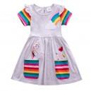 Dívčí šaty, tunika s krátkým rukávem a jednorožcem - šedá