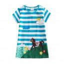 Dívčí šaty, tunika s krátkým rukávem a koníkem - modrá