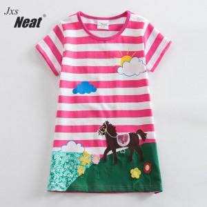 Dívčí šaty, tunika s krátkým rukávem a koníkem - růžová