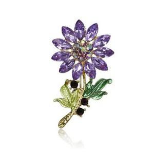 Módní brož s krystaly - slunečnice fialová