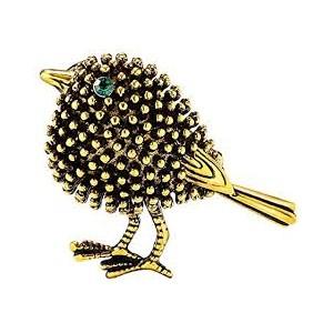 Módní brož s krystaly - retro zlatý ptáček