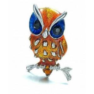 Módní brož s krystaly - sovička