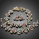 Luxusní set - barevný náhrdelník + náušnice + náramek s krystaly G0263