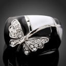 Luxusní prsten, bílé zlato, motýl Swarovski krystal J0537