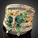 Luxusní prsten, žluté zlato, motýl, bílý a zelený Swarovski krystal J0546
