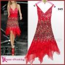Úchvatné volánkové společenské šaty Ever Pretty 0045 - červené