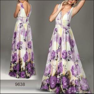 Luxusní letní krémové šaty s fialovými růžemi Ever Pretty 9638