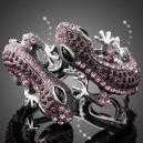Luxusní stříbrný náramek, ještěrka černý + fialový swarovski krystal B0014