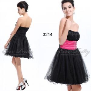 Rozkošné černé krátké šaty s volánkovou sukní  Ever Pretty 3214 - růžové