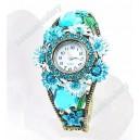 Luxusní dámské hodinky jako šperk s krystaly modré s květinami B48-3
