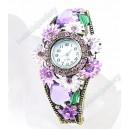 Luxusní dámské hodinky jako šperk s krystaly fialové s květinami B48-2