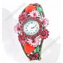 Luxusní dámské hodinky jako šperk s krystaly červené s květinami B48-5