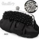 Luxusní dámská společenská kabelka, černá, saténová s perličkami Ever Pretty 03922