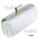 Luxusní dámská společenská kabelka, stříbrná, saténová s kamínky Ever Pretty 20467