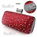 Luxusní dámská společenská kabelka, červená, saténová s kamínky Ever Pretty 20467