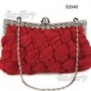 Luxusní dámská společenská kabelka, červená, splétaná s kamínky 92048