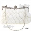 Luxusní dámská společenská kabelka, bílá, splétaná s kamínky 92048