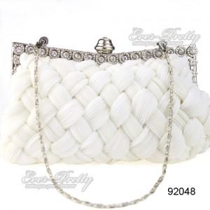 Luxusní dámská společenská kabelka, bílá, splétaná s kamínky ...