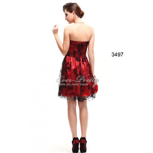 Luxusní červené saténové plesové šaty Ever Pretty 3497 - Angel fashion 55f7e47633