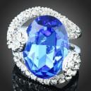 Luxusní prsten, bílé zlato, bílý, modrý Swarovski krystal J2659