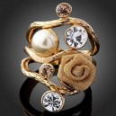 Luxusní prsten, žluté zlato, perla. růže, Swarovski krystal J0822