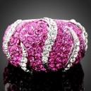 Luxusní prsten bílé zlato, fuksia Swarovski krystal J1758