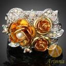 Luxusní prsten, žluté zlato, perla. růže, Swarovski krystal J2294